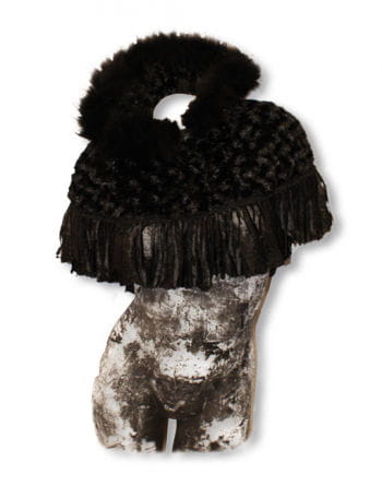 Poncho aus schwarzem Fell mit Kapuze