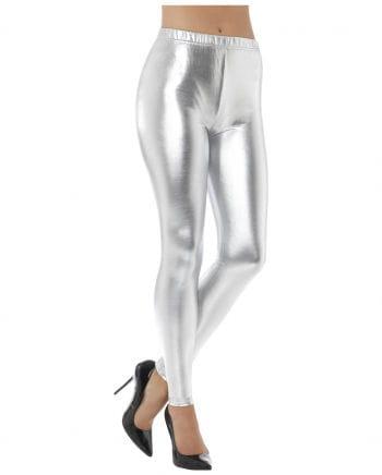 80s Disco Metallic Leggings silber