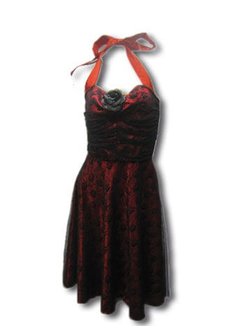 Rose lace dress red/black