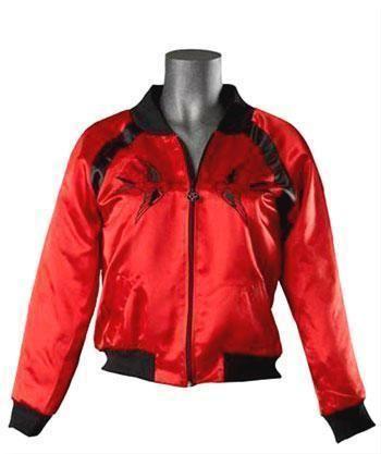 Rote Satin Jacke Gr.XL