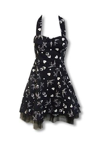 Rockabilly Tattoo Kleid schwarz weiß