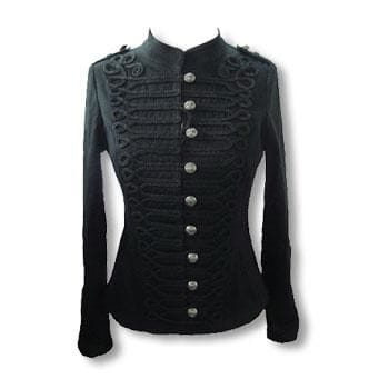 Black Gothic Jacket in Uniform Style