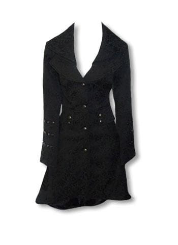Black Gothic Brocade Coat L