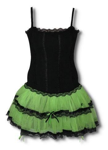 Minidress Black and Neon Green L