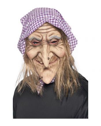 Fiese Hexen Maske mit Kopftuch