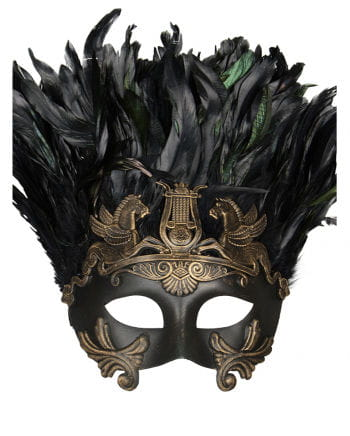 Altertümliche Augenmaske mit Federn bronze/schwarz