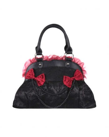 Spitzenbesetzte Handtasche schwarz/rot