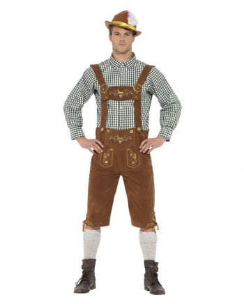Bavarian lederhosen costume with checkered shirt