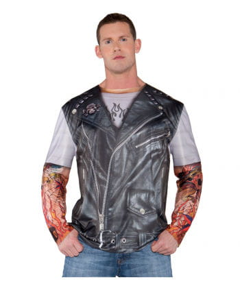 Biker Shirt mit Fake Tattoo Ärmeln