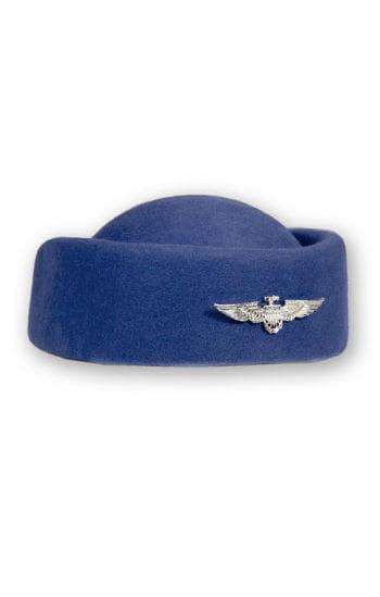 Blauer Stewardessen Hut