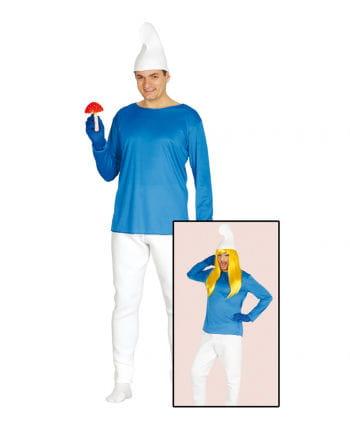 Blau-weißes Zwergen Kostüm