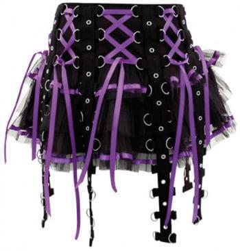 Bondage skirt with satin ribbons black purple