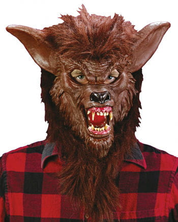 Werewolf Mask Brown with realistic teeth