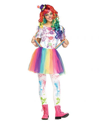 Buntes Clown Teenagerkostüm