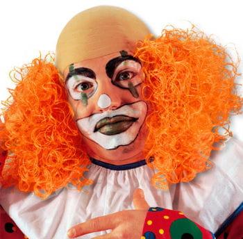Clown Perücke mit orangem Haar