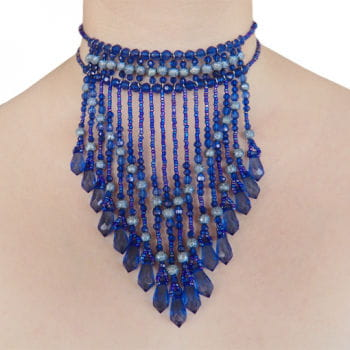 Necklace with pearl blue