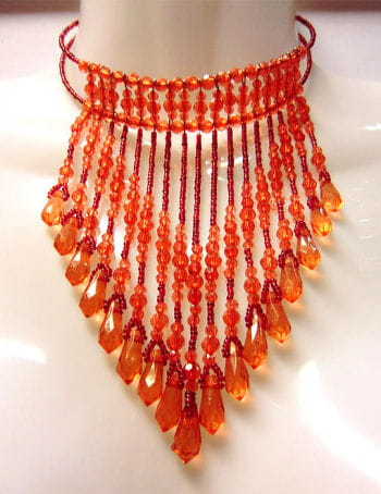 Beaded Necklace Red