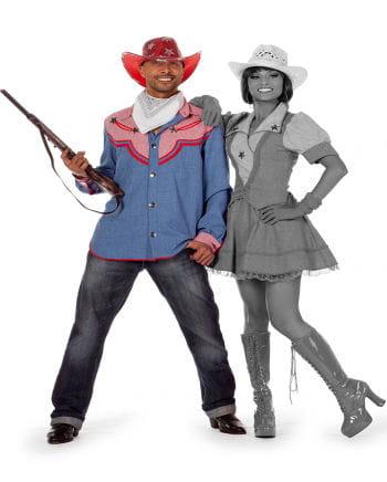 Cowboy Rodeo Herrenhemd Jeansblau Plus Size