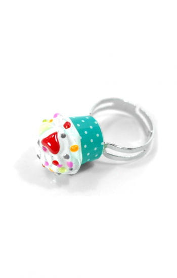 Cupcake Ring Green White