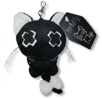 Dead Cute Luv Kitty Keychain Black-White