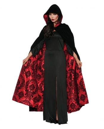 Luxus Samt Satin Umhang schwarz/rot