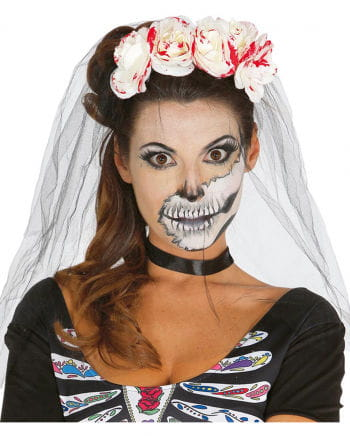 Blutiger Day of The Dead Haarreif mit Rosen