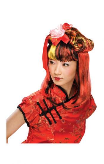Schwarz-rote Dragon Lady Perücke