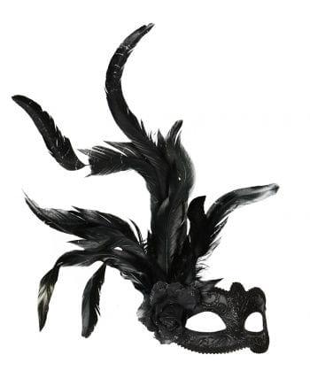 Augenmaske mit Blüte & Federn schwarz
