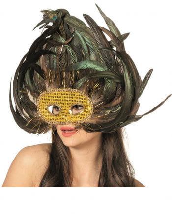 Augenmaske exotisch mit Pfauenfedern
