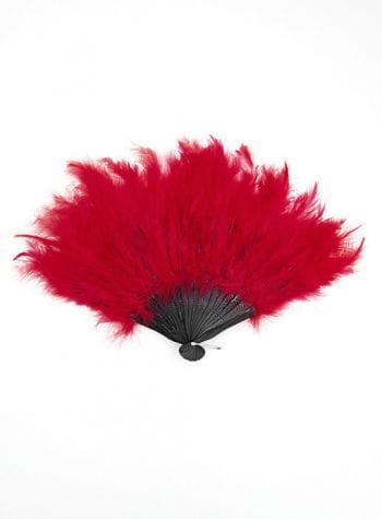 Roter XXL Fächer mit Federn