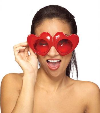 Feuerrote Herz Brille