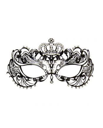 Intricate eye mask made of metal with black crown