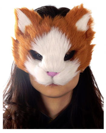 Orange-weiße Katzenmaske mit Kunstfell