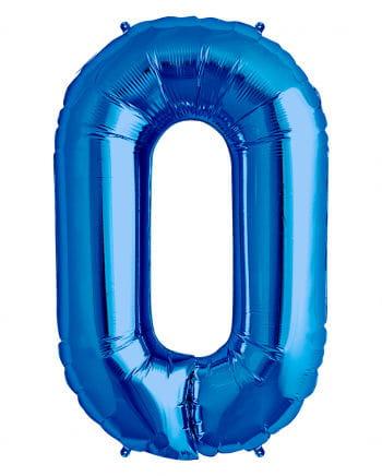 Blauer Folienballon Zahl 0