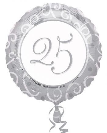 Folienballon silber 25. Geburtstag