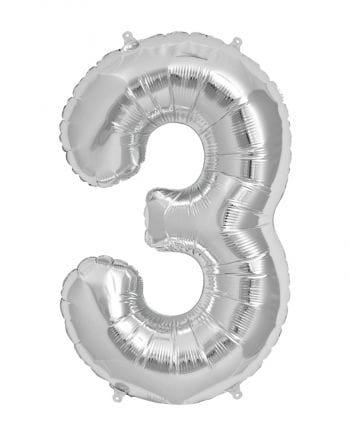 Folienballon Zahl 3 Silber