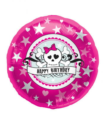 Folienballon Happy Birthday Skully Pink