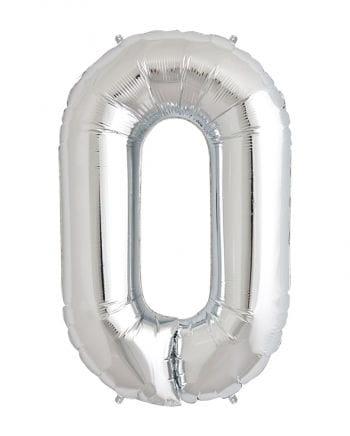 Folienballon Zahl 0 Silber