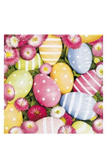 Servietten mit Eiern und Blumen
