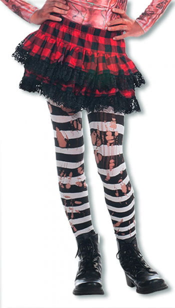 Striped Ripped Punk Tights Black White