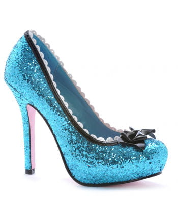 Glitter Pumps mit Lackschleife Blau