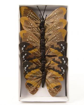 Braune Schmetterling mit Glitzer 6 St.