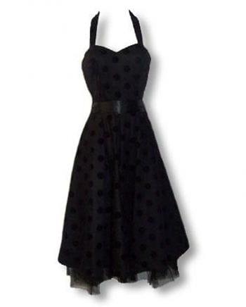 schwarz violettes Polka Dot Kleid S