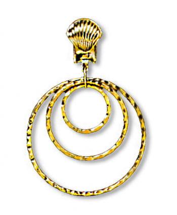 Goldene Ohrringe mit drei Ringen