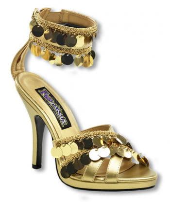 Goldene Sandaletten mit Fesselriemchen 36 36