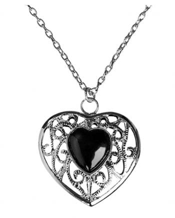 Necklace with black heart pendant