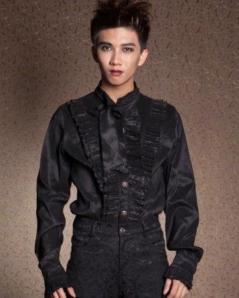 Gothic men`s shirt with ruffles black