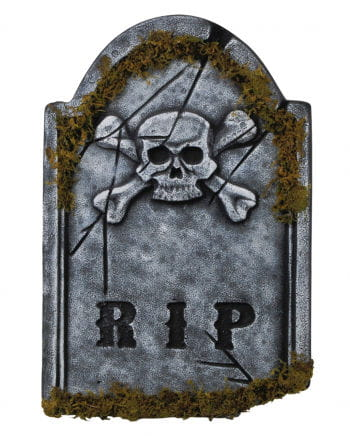 RIP grave stone with skull & Moss