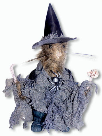 Grey Witch Rat Standing Decoration Small  22 cm