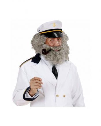 Wig with beard gray